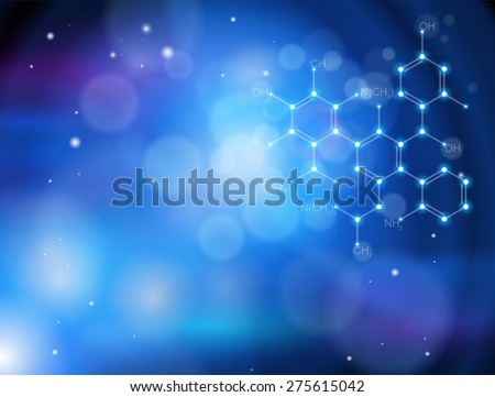 Blue technology background & chemical formula
