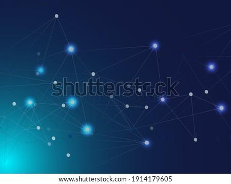 Blue Technology Space, Internet Cyberspace Data Concept. Galaxy Net Big Data Design, Universe Star Sky. Big Data Information, Network Triangular Nodes. Lines Nodes Plexus Vector Background.