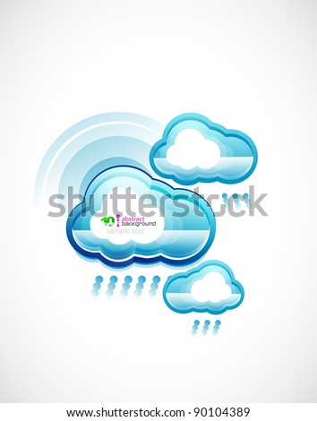 Blue technology wifi clouds vector background