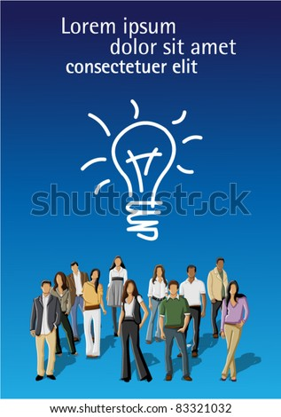 Blue template for advertising brochure with a group of people having a idea