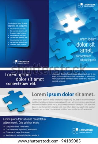 blue template for advertising brochure with puzzle pieces