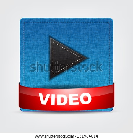 Blue Textile Video icon with a red bow.