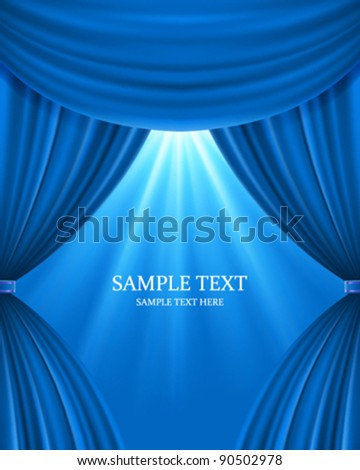 Blue theater curtain and light celebration vector background eps 10