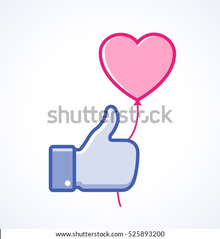 Blue thumb up icon with pink heart balloon, love vector illustration.  Valentine's day card concept. Valentines day icon. Valentines day vector web icon.