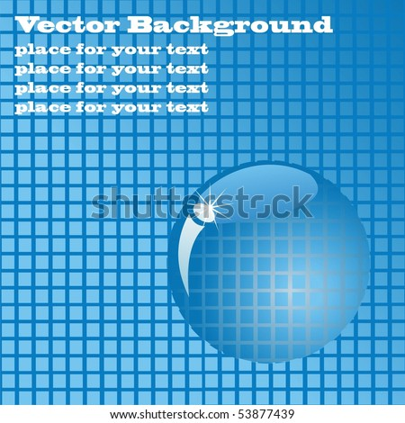 Blue tile with a magnifying glass. Vector background with place for your text
