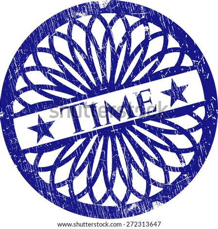 Blue time rubber stamp