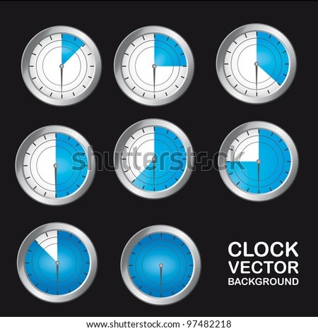 blue timer clock over black background. vector