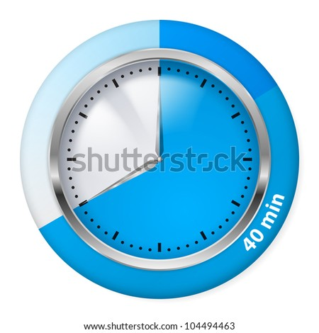 Blue Timer Icon. Forty Minutes. Illustration on white.