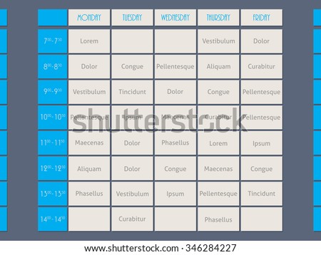Blue timetable template design flat style with sample text