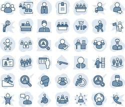 Blue tint and shade editable vector line icon set - baby vector, disabled, vip, identity, speaking man, team, meeting, doctor, push ups, medical mask, group, card, hr, manager desk, career ladder