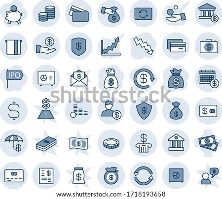 Blue tint and shade editable vector line icon set - credit card vector, safe, money bag, crisis graph, cash, dollar sign, coin, exchange, insurance, bank, account, atm, calendar, statement, case
