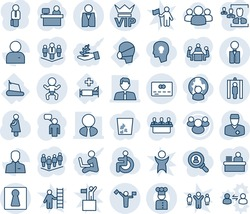 Blue tint and shade editable vector line icon set - dispatcher vector, female, vip, baby, metal detector gate, credit card, speaking man, team, manager place, disabled, doctor, pregnancy, treadmill