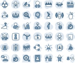 Blue tint and shade editable vector line icon set - dispatcher vector, female, vip, baby, metal detector gate, terrorism, speaking man, pedestal, team, manager place, disabled, doctor, pregnancy, hr