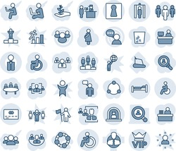 Blue tint and shade editable vector line icon set - female vector, vip, disabled, reception, bed, passport control, metal detector gate, credit card, speaking man, pedestal, team, meeting, pregnancy