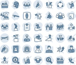 Blue tint and shade editable vector line icon set - male vector, disabled, reception, bed, vip, pedestal, team, manager place, doctor, hospital, push ups, medical mask, group, company, identity card