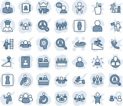 Blue tint and shade editable vector line icon set - male vector, female, vip, baby, disabled, snowmobile, team, meeting, manager place, doctor, client, speaker, user, company, identity card, hr, win