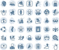 Blue tint and shade editable vector line icon set - male vector, female, vip, baby, passport control, metal detector gate, credit card, terrorism, disabled, meeting, pregnancy, hospital bed, client