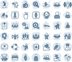 Blue tint and shade editable vector line icon set - male vector, female, vip, disabled, credit card, pedestal, meeting, pregnancy, push ups, speaker, group, user, identity, hr, manager desk, waiter