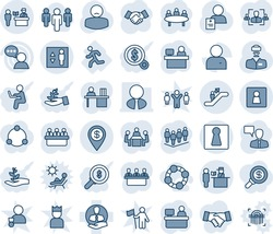 Blue tint and shade editable vector line icon set - passport control vector, escalator, female, elevator, wc, handshake, speaking man, team, meeting, manager place, doctor, patient, run, client, hr