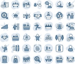 Blue tint and shade editable vector line icon set - passport control vector, escalator, female, reception, medical room, vip, recieptionist, ski, handshake, team, meeting, manager place, run, client