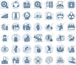 Blue tint and shade editable vector line icon set - passport control vector, escalator, female, baby room, male wc, recieptionist, ski, speaking man, pedestal, meeting, manager place, hospital, user
