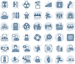 Blue tint and shade editable vector line icon set - passport control vector, female, reception, medical room, wc, ski, speaking man, manager place, run, hospital, patient, pregnancy, pull ups, hr