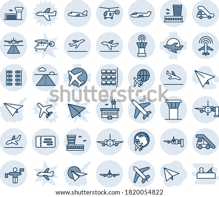 Blue tint and shade editable vector line icon set - plane vector, airport tower, runway, departure, arrival, ticket, ladder car, boarding, seat map, globe, building, traffic controller, radar, small