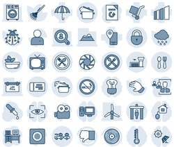 Blue tint and shade editable vector line icon set - spoon and fork vector, security gate, no smoking, tv, ticket, baggage larry, lock, airport building, desk, document reload, rake, glove, lady bug