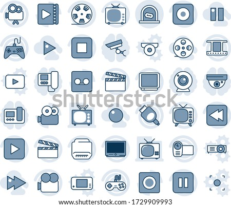 Blue tint and shade editable vector line icon set - ticket office vector, clapboard, film frame, reel, tv, gamepad, video camera, play button, pause, stop, rewind, rec, hdmi, record, fast forward