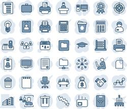 Blue tint and shade editable vector line icon set - trash bin vector, reception, christmas calendar, hierarchy, team, medal, graduate, notepad, document, money bag, crisis graph, coffee, meeting, hr