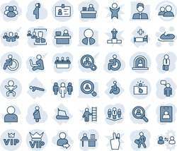 Blue tint and shade editable vector line icon set - vip vector, baby, disabled, reception, terrorism, identity, snowmobile, speaking man, manager place, pregnancy, treadmill, hospital bed, push ups
