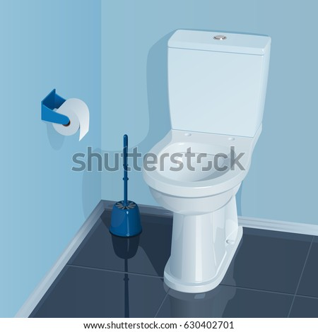 Blue toilet room with white ceramic toilet bowl. In the corner there is a glass with a brush for cleaning the toilet, a roll of toilet paper in the holder hangs on the wall.