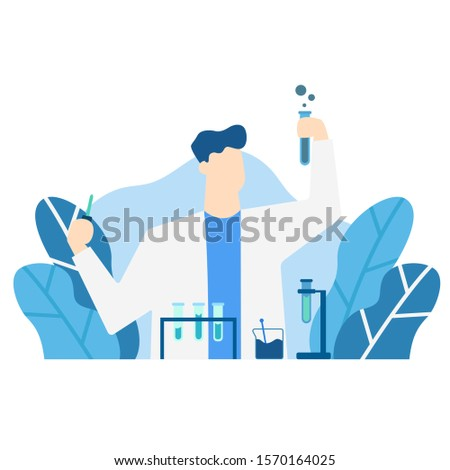 blue tone vector illustration of experiment scientist, laboratory scientist, biochemistry, experimenting various experiments, chemical, character, scientific research