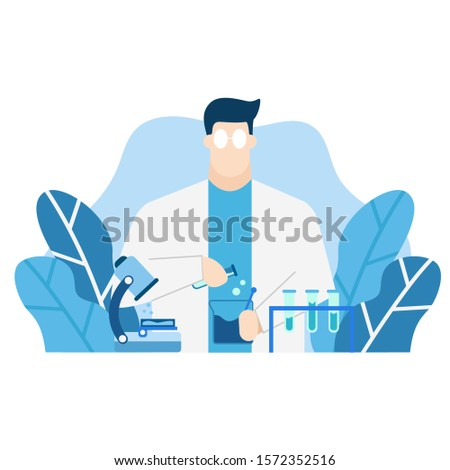 blue tone vector illustration of experiment scientist, laboratory staff with biochemical science various experiments flat isolated