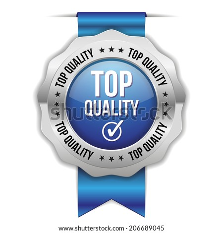 Blue top quality badge with ribbon and metallic border on white background