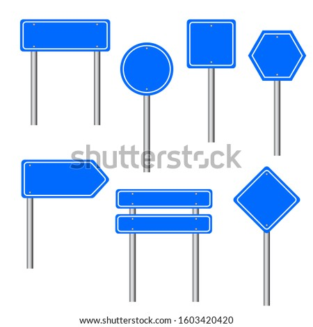 Blue traffic signs. Road board text panel, mockup signage direction highway city signpost location street arrow way vector set