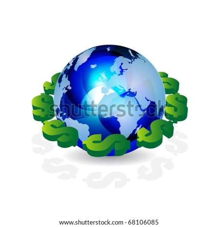 blue translucent globe with 3d dollar symbols vector