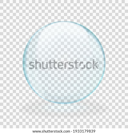 Blue translucent light sphere with glares and transparency