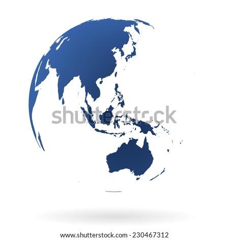 Blue transparent earth globe