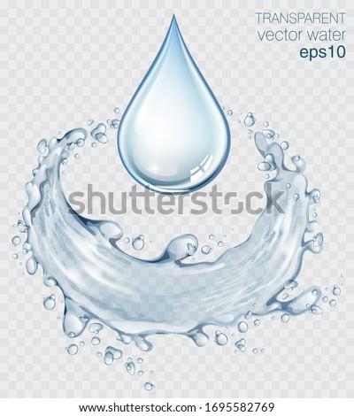 blue transparent water splashes