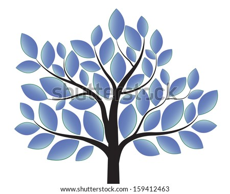 blue tree isolated on white