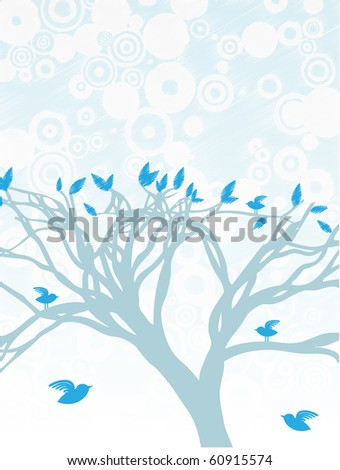 Blue Tree with birds perched and flying around editable vector illustration