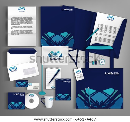 Blue trendy corporate identity template design with an element of decorative. Modern abstract business set stationery.