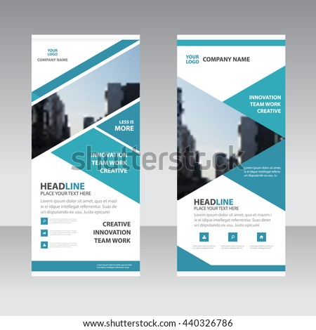Blue triangle Business Roll Up Banner flat design template ,Abstract Geometric banner template Vector illustration set, abstract presentation template #440326786