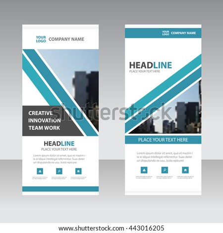 Blue triangle Business Roll Up Banner flat design template ,Abstract Geometric banner template Vector illustration set, abstract presentation template #443016205