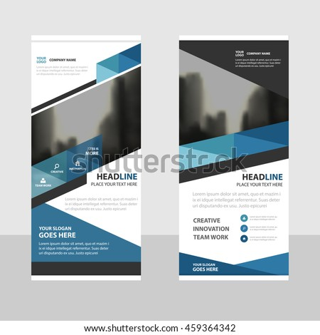 Blue triangle Business Roll Up Banner flat design template ,Abstract Geometric banner template Vector illustration set, #459364342