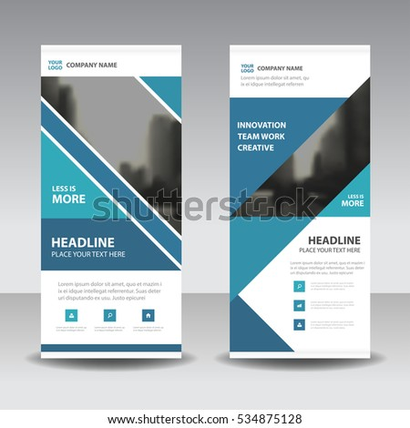 Blue triangle Business Roll Up Banner flat design template ,Abstract Geometric banner  Vector illustration set, abstract presentation brochure flyer vertical  vector #534875128