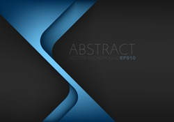 Blue triangle geometric vector background overlap layer on black space for text and background design