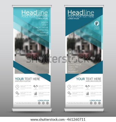 Blue triangle roll up business banner design vertical template vector, cover presentation abstract geometric background, modern publication display and flag-banner, layout in rectangle size. #461260711