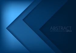 Blue triangle vector background arrow angle paper layer overlap on space for text and message artwork background design